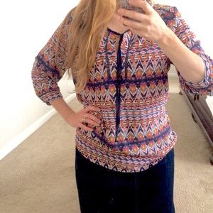 Navy Colorful Tunic Aztec design